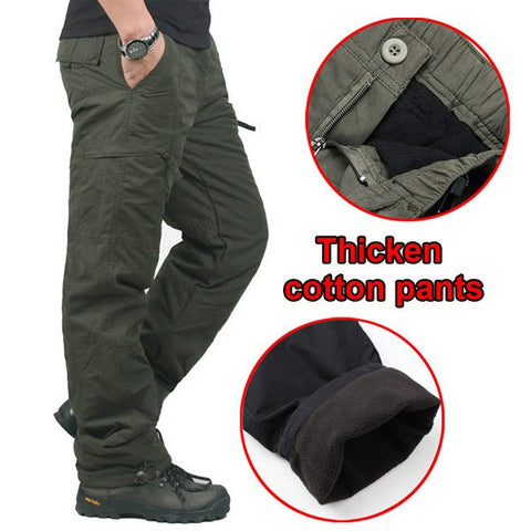 Mens Winter Outdoor Sports Trousers Military Tactical Thick Warm Cargo Pants-Visiocology