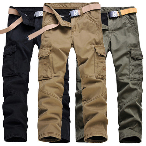Mens Winter Thick Fleece Multi Pockets Cargo Pants Straight Leg Casual Pants-Visiocology