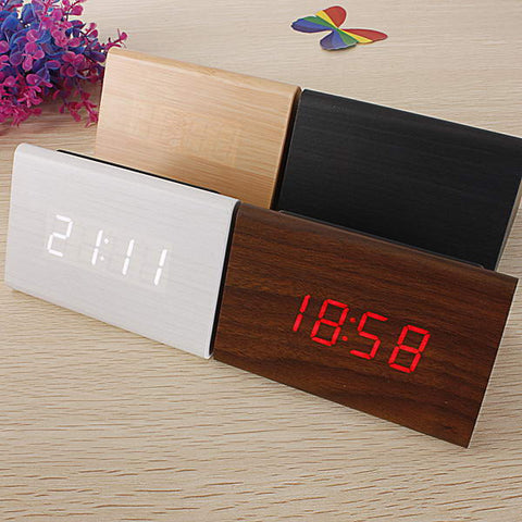 mini wooden led triangular alarm clock wood digital thermometer clock visiocology