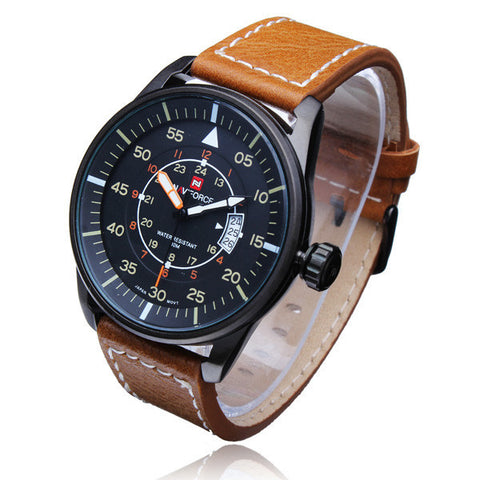Naviforce 9044 Men Military Style Date PU Leather Quartz Male Wrist Watch-Visiocology - 5