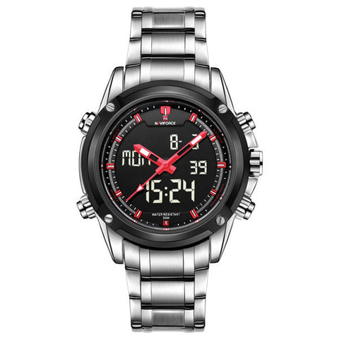 Naviforce 9050 Men LED Digital Stainless Steel Band Analog Wrist Watch-Visiocology