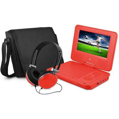 "New 7"" Dvd Player Bundle Red-Visiocology"