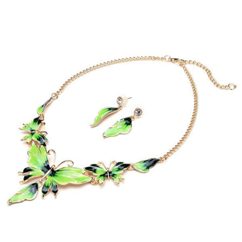 Oil Drop Butterfly Crystal Gold Plated Necklace Earrings Jewelry Set - Visiocology