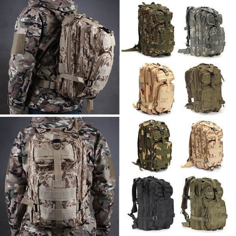 Outdoor 30L Military Tactical Camo Backpack Rucksack Camping Hiking Trekking Shoulder Bag Pack-Visiocology