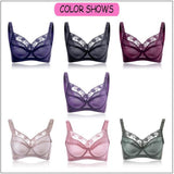 Plus Size B-H Sexy Lace Embroidery Bra Ultrathin Push Up Comfy Bras For Women - Visiocology