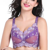 Plus Size B-H Sexy Lace Nice Embroidery Mesh Bra Ultrathin Push Up Full Cup Bras For Women - Visiocology