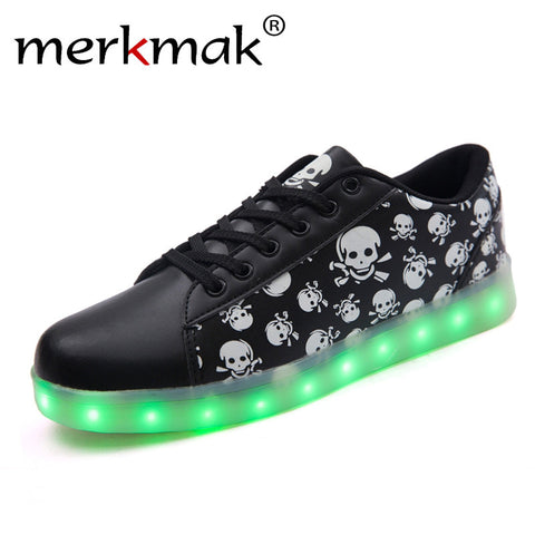 Merkmak Luminous LED Men's Shoes Unisex Cool USB Rechargeable Casual Flats Punk Skull Led Shoes For Adults Fashion Fuorescence