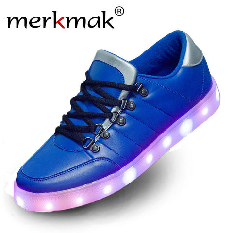 visiocology : Merkmak Lights Up Luminous Superstar Casual Flats Blue Red Shoes Men LED Shoes For Adults Fashion Footwear Glowing Dance Shoes