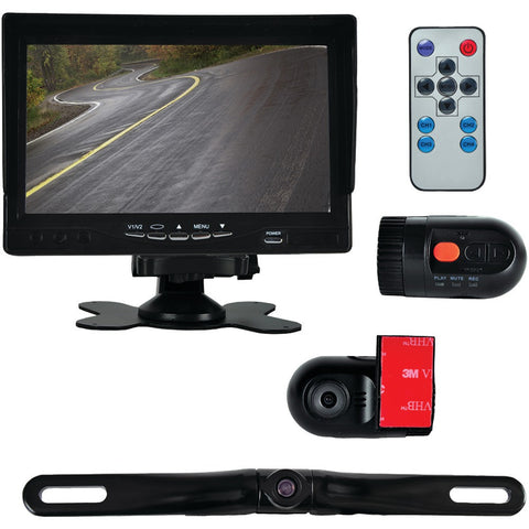 Pyle ~ PYLPLCMDVR72 Monitor System With 2 Interior Dvr Dash Cams & License-plate Camera-Visiocology