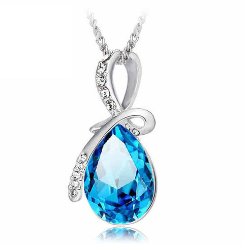 Rhinestone Crystal Water Drop Pendant Necklace For Women-Visiocology