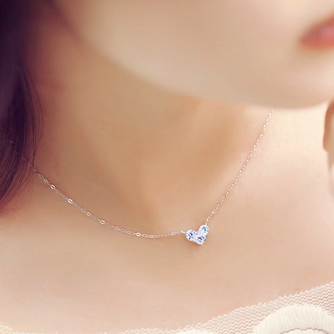 S925 Sterling Silver Zircon Elegance Beautiful Heart-shaped Pendant Necklace-Visiocology