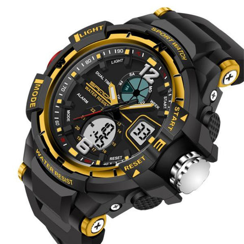 Visiocology : SANDA 289 Fashion LED Dual Display Men Watch 30M Waterproof Sport Digital Watch
