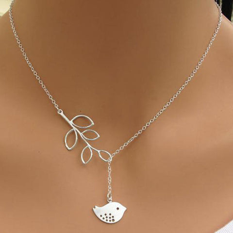 Silver Branch Tree Leaves Bird Pendant Necklace For Women-Visiocology