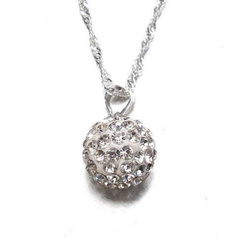 Silver Chain Crystal Rhinestone Ball Pendant Necklace-Visiocology