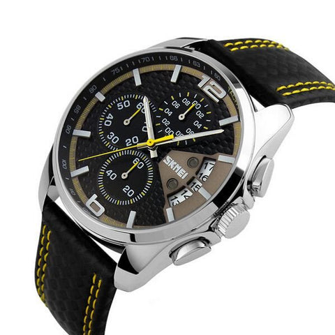 SKMEI 9106 Men Fashion PU Leather Band Waterproof Analog Male Wrist Watch-Visiocology