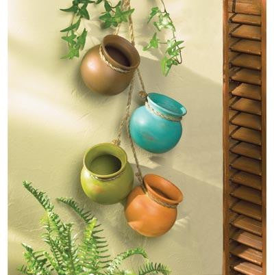 Summerfield Terrace 10037733 Hanging Ceramic Dangling Mini Pots Outdoor Garden Vessels Decor-Visiocology