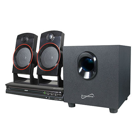 Supersonic 2.1 Channel DVD/CD/MP3 Home Theater Sound System-Visiocology