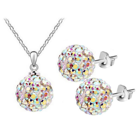 Sweet Crystal Ball Bead Pendant Necklace Earrings Jewelry Set For Women - Visiocology