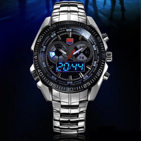 TVG 468 Men 3 Dial LED Display Analog Digital Military Wrist Watch-Visiocology