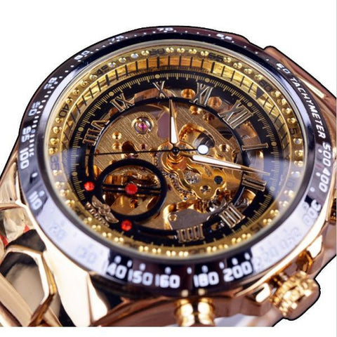 WINNER Men Fashion Shining Roman Numerals Mechanical Watch Luxury Golden Automatic Watch - Visiocology