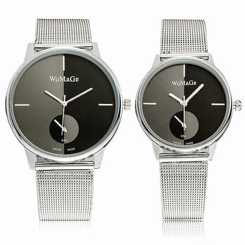 WoMaGe 654 Stainless Steel Mesh Band Watches Analog Quartz Round Needle Buckle Women Men Couple Wrist Watch-Visiocology