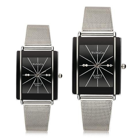 WOMAGE 9366-1 Men Women Lovers Casual Square Stainless Steel Quartz Couple Watch-Visiocology