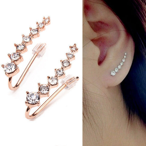Visiocology : Women Italina Rhinestone Crystal Ear Cuff Earrings 18K Rose Gold Plated Earring