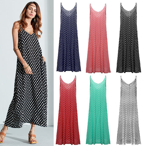 Women Sexy Summer Casual V-Neck Strap Dot Backless Beach Maxi Dress-Visiocology