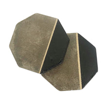 Load image into Gallery viewer, Octagon Black & Gold Concrete Coasters