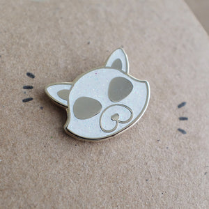 Black Glitter Fox Enamel Pin