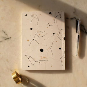 White Zodiac Dot Grid Notebook