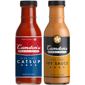 Camdens Original Recipe Blue Label Catsup and Gold Label Fry Sauce 2 pack 14 oz bottles from Little Big Burger