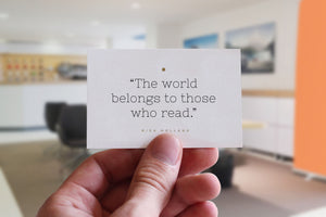Citat-kort: 'The world belongs to those who read'