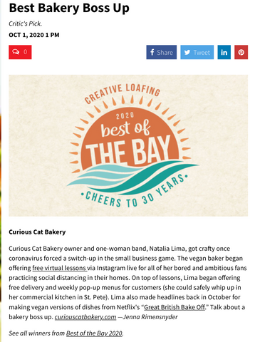 CURIOUS CAT BAKERY BAKERY BOSS UP BEST OF THE BAY AWARD