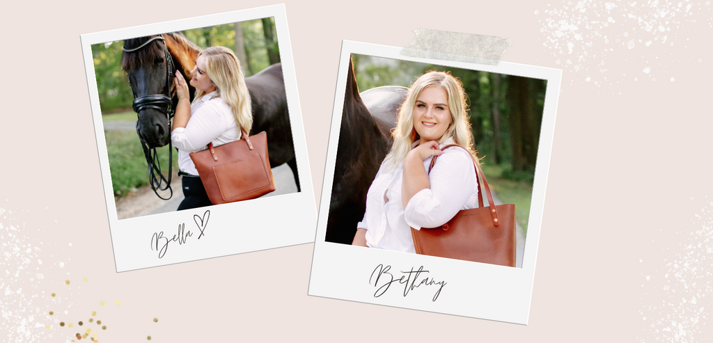 """Two polaroids on a cream background, woman with blonde hair, white shirt, and brown leather purse is in both pictures, standing next to a large, black horse. Handwriting on pic 1 says """"Bethany,"""" indicating the woman's name and on the second """"Bella,"""" indicating the horse's name."""