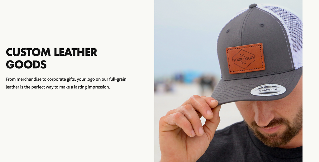 """Screenshot of a Welsh Mtn Co. webpage. White man with his face tipped down wears a baseball hat with a leather patch debossed with """"Your Logo Here"""". Headline reads Custom Leather Goods."""