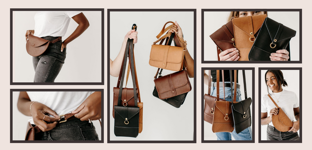 Collage of images of 2 models, one Black, one white, holding various small, leather handbags.