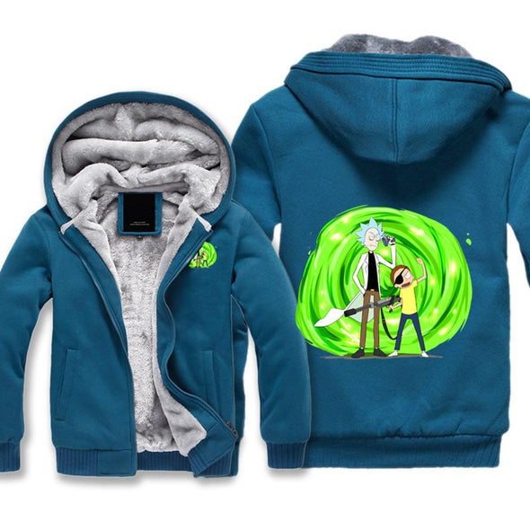Evil Rick and Morty Fleece Jacket - Rick and Morty Portal Jacket - Hoodie Now