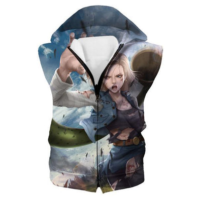 Android 18 Hooded Tank - Android 18 Dragon Ball Z Clothing - Hoodie Now