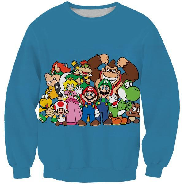 Blue Nintendo Character Sweatshirt - Video Game Clothing - Hoodie Now