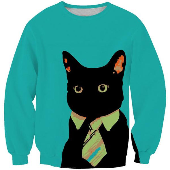 Business Cat Sweatshirt - Black Cat Clothing - Hoodie Now