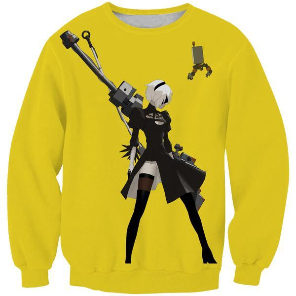 Nier Automata Yellow Sweatshirt - Video Game Clothes - Hoodie Now