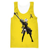 Nier Automata Yellow Tank Top - Video Game Clothes - Hoodie Now