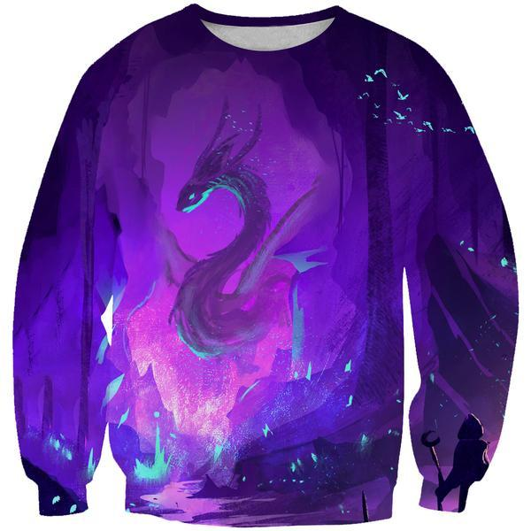 Purple Dragon Sweatshirt - Fantasy Hoodies and Clothing - Hoodie Now