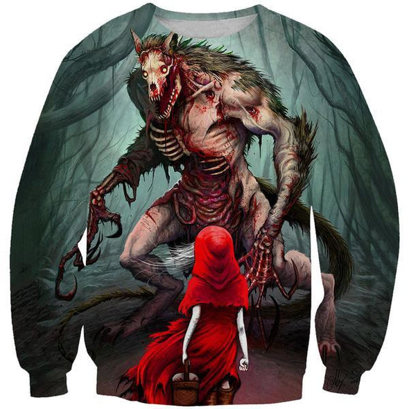 Red Riding Hood and Wolf Sweatshirt - Printed Clothes - Hoodie Now