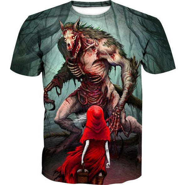 Red Riding Hood and Wolf T-Shirt - Printed Clothes - Hoodie Now