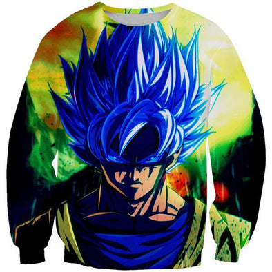 Super Saiyan Blue Goku Sweatshirt - Goku Face Dragon Ball Super Clothes - Hoodie Now