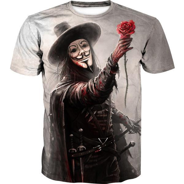 V for Vendetta T-Shirt - V Rose Clothes - Hoodie Now