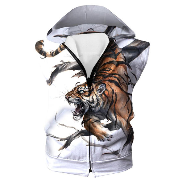 Cool Tiger Hooded Tank - Printed Tiger Clothes - Hoodie Now