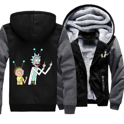 rick and morty fleece jacket